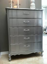 silver painted furniture. Diy Tutorial Home Decor Metallic Dresser Bead Cord Silver Painted Furniture