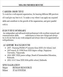 Amazing Career Objective For Resume Mba Hr Fresher 28 Free Templates