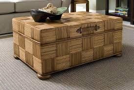 attractive wicker storage trunk coffee table design