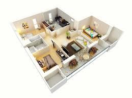 3 bedroom bungalow house floor plans 3d