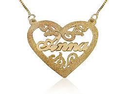 prestige jewelry heart engraved pendant 18k solid yellow gold name necklace