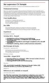 Bar Staff Job Description Bar Supervisor Cv Sample Myperfectcv