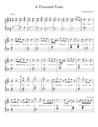a thousand years piano sheet music a thousand years sheet music for piano musescore