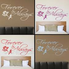 romantic bedroom wall decals. Forever And Always Bedroom Wall Sticker, Romantic Love Quote Decal With Rose Decals