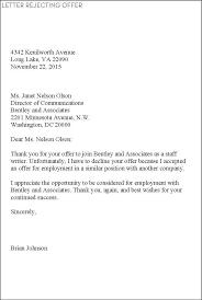 Decline An Offer Decline Offer Letter Sample Selo L Ink Co With Turn Down Job Offer