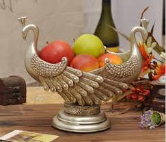 Beautiful 2013 New Resin Peacock Fruit Bowl Home Craft Decor Gift Free Shipping  Tables Decorations Party Supplies