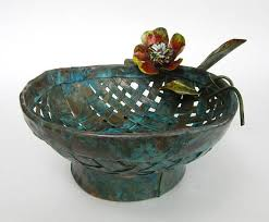 Turquoise Decorative Bowl Handmade Woven Copper Decorative Bowl With Flower And Leaf Accents 14