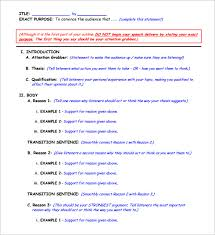 persuasive speech outline sample example  persuasive speech outline format