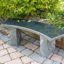 rustic curved balm stone bench black