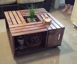 ... Coffee Table, Inspiring Brown Square Rustic Unique Wooden Crate Coffee  Table With Storage Idea To ...