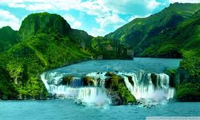 tropical waterfall ultra hd desktop