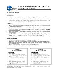 Ncaa Freshman Eligibility Standards Quick Reference Sheet