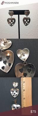 sterling silver taxco heart earrings d sterling silver sterling silver taxco heart earrings sterling silver taxco heart drop post back earrings