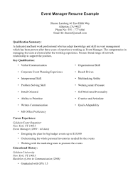 Special Events Manager Resume Resume For Your Job Application