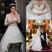discount lace long sleeve wedding dresses 2018 lace applique