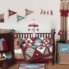 sweet soccer themes baby boy room ideas with wooden baby crib also brown curtain as well as white wall painted ideas