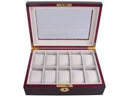 10 watch organizer display case ebony wood glass top jewelry box storage gift