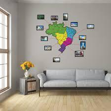 Final decormodelo:papel de parede adesivo floraldisponibilidade: Adesivo De Parede Mapa Do Brasil Colorido Com Molduras 83x86cm Leroy Merlin