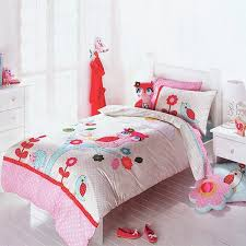 beautiful colorful owl and hedgehog print tree top embroidered cute girly cartoon animal themed twin full size bedding sets