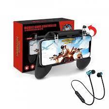 Tay cầm chơi game PUBG mobile W10 tay gắn điện thoại kèm nút bắn - Tặng tai  nghe bluetooth không dây
