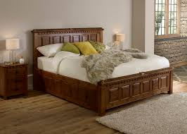 super kingsize wooden bed with 3 door bedside cabinet