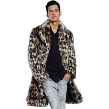 outfits faux fur coat men s leopard turndown collar long sleeve regular fit long coat