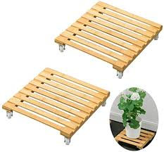 ZFRANC <b>2 Pcs</b> Planter Caddies <b>Plant</b> Stand with <b>Wheels</b> Bamboo ...