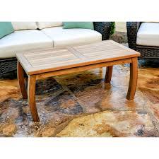Tortuga outdoor jakarta teak 20 in x 40 in wood rectangle patio coffee table