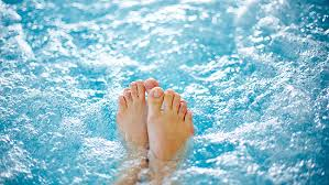 as well as being very relaxing a long soak in hot bubbly water is reputed to have many health benefits among them easing tired aching limbs