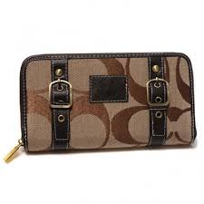 Coach Double Buckle Logo Large Coffee Wallets CJS