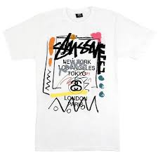 Stussy T Shirt Size Chart Stussy World Tour Doodle T Shirt In White In 2019 T Shirt
