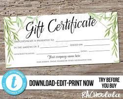 Custom Gift Certificate Templates Free Editable Greenery Printable Gift Certificate Template