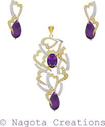 amethyst and diamond pendant set with yellow and white gold