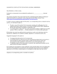 Suggested Cover Letter For Author Journal Submission Short Cover