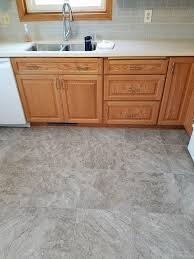 oak cabinets luxury vinyl tile floor