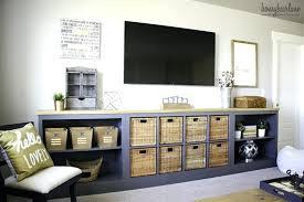kallax bookshelf turn into a long storage unit via kallax bookshelf