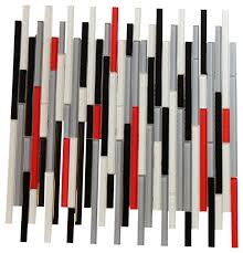 12 x13 autostrata red white black gray glass mosaic bar backsplash tile