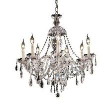 7 light chrome chandelier with clear crystal