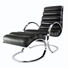 chrome and leather mid century modern lounge chair and ottoman at 1stdibs
