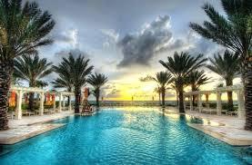 pool palm trees swimming pool beach palm trees sunrise sea landscape clouds best poolside palm trees