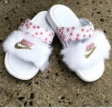 Shoes Pink Slide Shoes Fur Slides Custom Slides Nike White