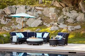 navy blue outdoor sectional with