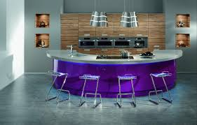 Quirky Contemporary Kitchen Color Idea Using Blue And White Noticeable  Purple Island With Gray Countertop Also