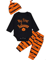 3Pcs/ Outfit Set Baby Boy Girl Infant My First Halloween Rompers(0 3