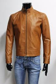 details about italian handmade men lambskin fitted leather jacket brown cuoio tan sz m
