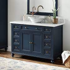 48 Keller Mahogany Vessel Sink Vanity Vintage Navy Blue Bathroom