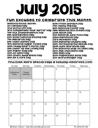 Calendars For June And July 2015 Printable July 2015 Special Days Calendar Holiday Favorites