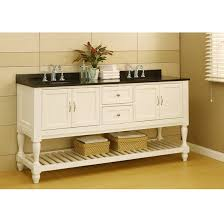 picture of 70 pearl white mission style double bathroom vanity sink console with turn