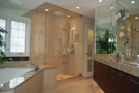 Glass-enclosed shower.