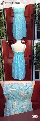 Lilly Pulitzer Size Chart Dresses Lilly Pulitzer Sun Dress Blue With Shells And A Touch Of